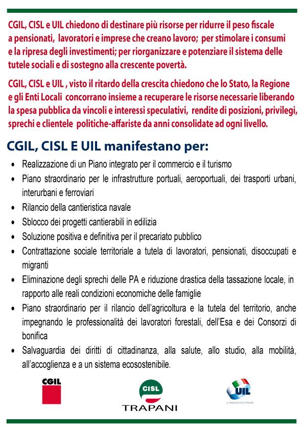 Trapani, Mobilitazione unitaria: Cgil, Cisl e Uil su Lavoro, legalità e sviluppo