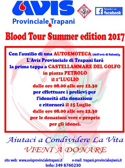 """[AVIS] Castellammare del G. –  Al via il  """"Blood Tour"""" Summer edition 2017"""