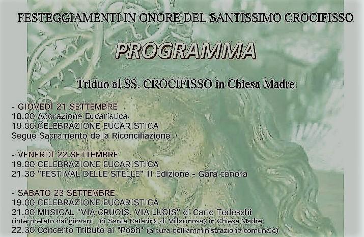 Campobello. Festeggiamenti in onore del SS. Crocifisso: Il programma