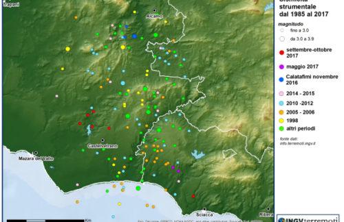 Terremoti in provincia di Trapani avvertiti dalla popolazione: ecco l'analisi INGV della sequenza sismica a Castelvetrano [DATI e MAPPE]